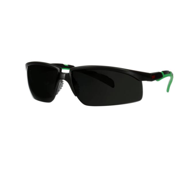 3M Solus 2000 Schutzbrille, PC, UV, schwarz/grüne Bügel, graue Scheibe (Schutzstufe IR 5.0), S2050ASP-BLK