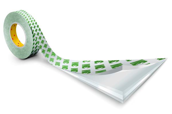 3M™ Doppelseitiges Klebeband mit PVC-Träger 9087, Weiß, Rolle a 50m