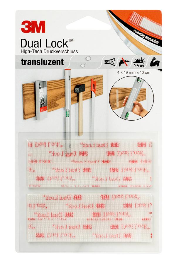 3M™ Dual Lock™ High-Tech Druckverschluss, 4 Streifen a 10 x 1,9 cm, transparent