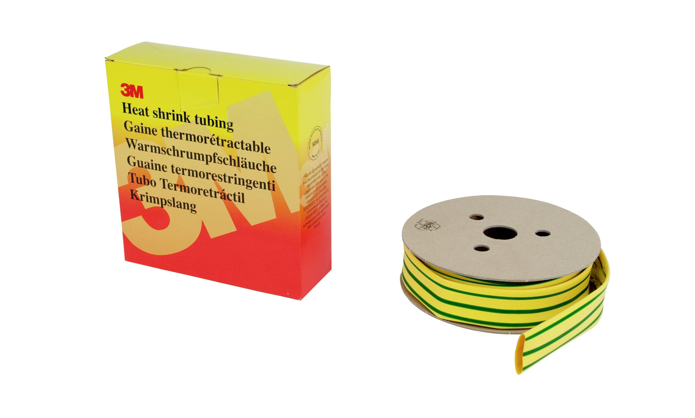 3M HSR Dünnwandiger Warmschrumpfschlauch auf Rolle, Grün-Gelb, 9,5/4,8 mm, 7 m