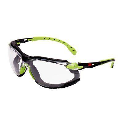 3M Solus Schutzbrille, Rahmen grün/schwarz, Scotchgard Antibeschlag-Beschichtung, klare Gläser, S1201SGAFKT-EU