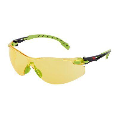 3M Solus Schutzbrille mit grünem/schwarzem Rahmen, Scotchgard Antibeschlag-Beschichtung, bernsteingelben Gläsern, S1203SGAF-EU