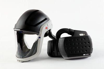 Versaflo Klarsichtvisier M-307 mit integriertem Kopfschutz, mit Adflo Gebläse- Atemschutz