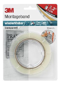 3M™ Montageband wiederlösbar, Transparent, 19 mm x 5 m, 0,8 mm