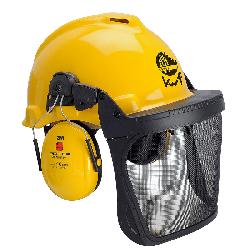 3M™ G22D Kopfschutz-Kombination 22DY515C in gelb mit H510P3e Kapseln, Visier 5C Edelstahl, Leder-Schweißband und KWF-Logo