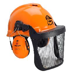 3M™ G22D Kopfschutz-Kombination 22DO515C in orange, mit H510P3E Kapseln, Pinlock Verschluß, Visier 5C Edelstahl, Lederschweißband und KWF-Logo