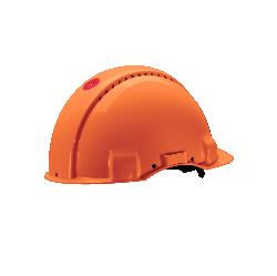 3M™ G3000 Schutzhelm G30MUO in Orange, belüftet, mit Uvicator, Ratsche und Lederschweißband