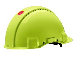 3M™ G3000 Schutzhelm G30NUV in Neongrün, belüftet, mit Uvicator, Ratsche und Kunststoffschweißband