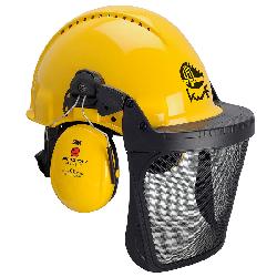 3M™ G3000 Kopfschutzkombination 3MY515B in Gelb mit H510P3E Kapseln, Ratschensystem, Visier 5B Polyamid, Leder-Schweißband, KWF-Logo