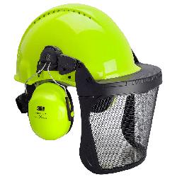 3M™ G3000 Kopfschutzkombination 3NV315J in Neongrün mit H31P3E Kapseln, Visier 5J Ätzmetall, Ratschensystem, Kunststoff-Schweißband