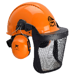 3M™ G3000 Kopfschutz-Kombination 3MO315C in Orange mit H31P3E Kapseln, Ratschensystem, Visier 5C Edelstahl, Leder-Schweißband, KWF-Logo