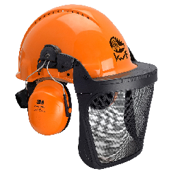 3M™ G3000 Kopfschutz-Kombination 3MO315B in Orange mit H31P3E Kapseln, Visier 5B Polyamid, Ratschensystem, Leder-Schweißband, KWF-Logo
