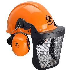 3M™ G3000 Kopfschutz-Kombination 3MO315J in Orange mit H31P3E Kapseln, Ratschensystem, Visier 5J Ätzmetall, Leder-Schweißband, KWF-Logo