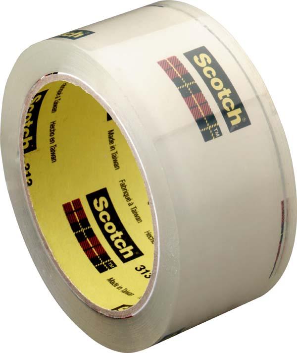 Scotch® Verpackungsklebeband 313, Transparent, 50 mm x 66 m, 0,065 mm