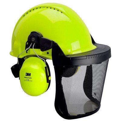 3M G3000 Kopfschutzkombination 3NV315J in Neongrün mit H31P3E Kapseln, Visier 5J Ätzmetall, Ratschensystem, Kunststoff-Schweißband