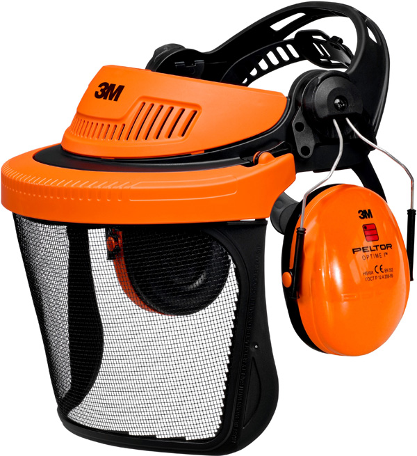 3M™ G500 Kopfschutz-Kombination G5V5CH51, Orange mit H510P3E Kapseln, Visier 5C-1 Edelstahl