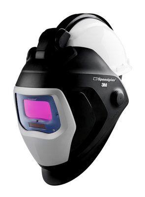 3M Speedglas 9100-QR Schweißmaske mit 9100V ADF und 3M Arbeitsschutzhelm H-701
