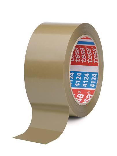 tesapack 4124 PVC-Verpackungsklebeband, Länge 66m, chamois